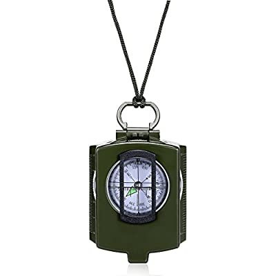 Outdoor Survival Compass, Military Map Sighting Lensatic Compass, Waterproof and Shakeproof for Adventure Hiking Camping with Pouch
