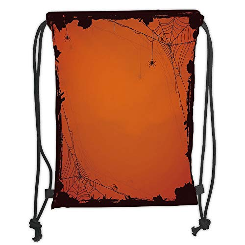 Custom Printed Drawstring Sack Backpacks Bags,Spider Web,Grunge Halloween Composition Scary Framework with Insects Abstract Cobweb,Orange Brown Soft Satin,5 Liter Capacity,Adjustable String Closure,Th]()