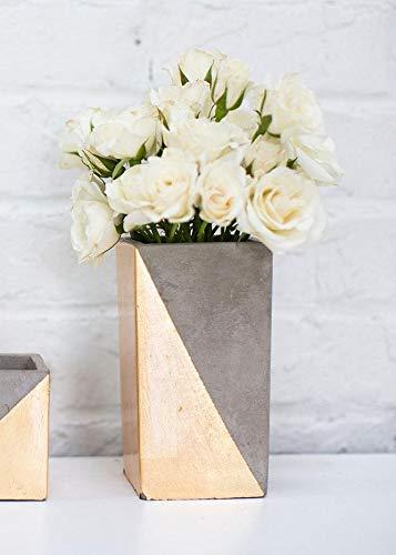 Afloral Tall Ceramic Paradox Rectangular Vase in Gold - 6.25