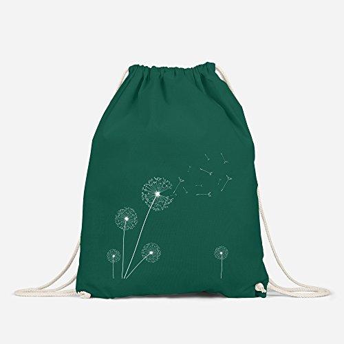 Turnbeutel Pusteblume Blume Hipster Beutel Tasche Jutebeutel Dandelion Gymsac Stringbag Drawstring Autiga® grün