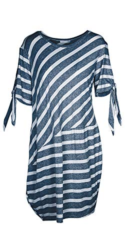M Made in Italy - Women's Striped Dress (L) Blue ()