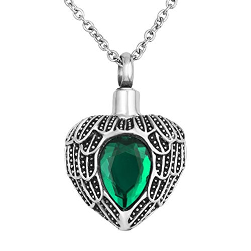 SexyMandala Urn Necklace Ashes Angel Wing Tear Drop Birthstone Urn Pendant Cremation Memorial Jewelry/Green ()