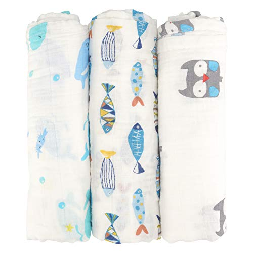 - Muslin Swaddle Blankets by Tasera,Unisex 100% Organic Cotton for Baby,Set of 3,Large 47x43 inches Soft Swaddling Receiving Sleep Blankets,Perfect Baby Shower Gift for Boys and Girls (Fish)