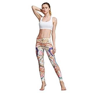 MUMUWU Women Yoga Pants High Waist Sport Workout Running Power Flex Yoga Leggings Printed Peacock & Flower S