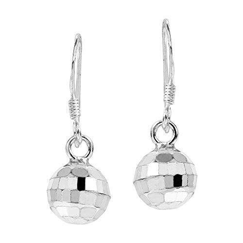 Silver Disco Ball Earrings (Retro Disco Ball .925 Sterling Silver Dangle Earrings)