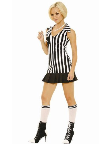 [Elegant Moments Women's Racy Referee, Black/White, Medium] (Woman Referee Costume)