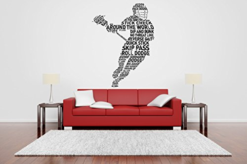 (AratikDesigns Removable Vinyl Sticker Mural Decal Wall Art Decor Helmet Lax Lacrosse Racket Poster Sport Ball Active Boy Girl Bedroom Nursery Playroom Trophy)