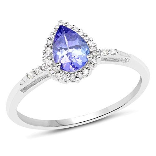 Genuine Tanzanite and White Diamond 14k White Gold Ring (1/10cttw), Size ()
