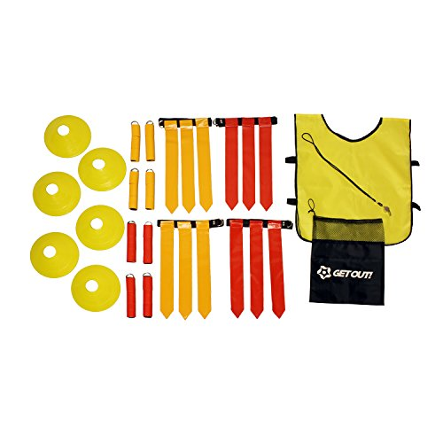 Get Out! American Flag Football Set, Football Practice Flags & Scrimmage Gear Kit for 12 Players with Referee Equipment ()