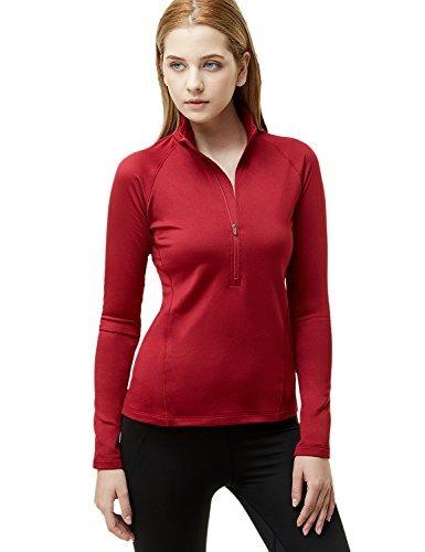 Jacket Training Winter (Tesla TM-XKZ02-CRR_Large Women's Winterwear Sporty Slim Fit 1/2 Zip Fleece Lining Pullover XKZ02)