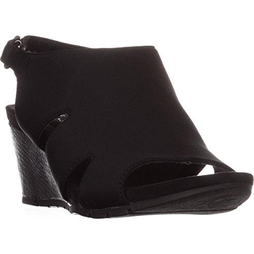 Bandolino Platforms - Bandolino Womens Galedale Open Toe Casual Platform, Black Lycra, Size 6.0