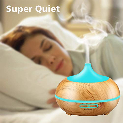 URPOWER Aromatherapy Diffuser 300ml Wood Cool Mist Whisper-Quiet Humidifier with Color LED Lights Changing & 4 Settings, for Spa