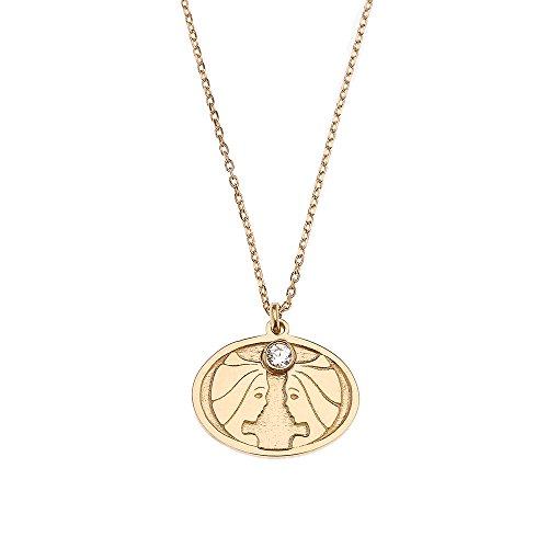 - CaliRoseJewelry 14k Yellow Gold Gemini Zodiac Sign Cubic Zirconia Charm Pendant Necklace, 16