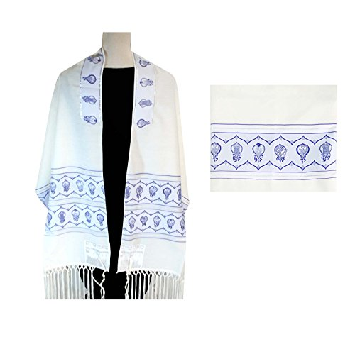 - Talit Tallit Tallis 2 pc. Set + Matching Tallit Bag Blue & Silver The Twelves Tribes Design With A Nice Atarah, ISRAEL, Size: 71