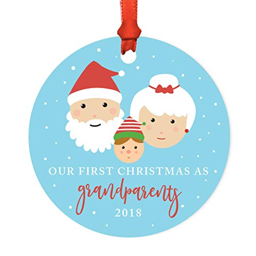 Andaz Press Family Round Metal Christmas Ornament, Our First Christmas As Grandparents 2018, Santa and Mrs. Claus with Elf, 1-Pack, Includes Ribbon and Gift Bag -  APP12122