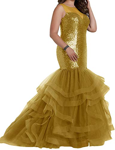 Miao Duo Women's Long Sequins Wedding Evening Dresses Layered Backless Maxi Bridal Gowns Sleeveless Gold ()