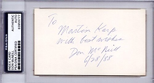 Don McNeill Autographed Signed Tennis Legend 3x5 inch Index Card - Deceased 1996 - To Martin Karp 6/28/88 - PSA/DNA Authenticity (COA) - PSA Slabbed Holder from Sports Collectibles Online