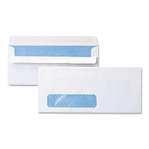 Self-Seal Business Envelope, Window, Security Tint, #10, White, 500/Box, Sold as 1 Box