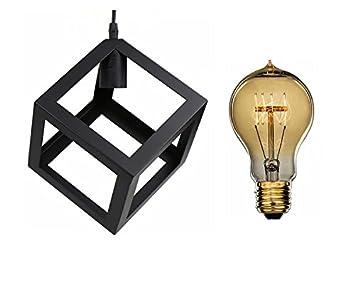 Suspension Simple Industrial Diy Metal Noir Lignes Droites Ampoule