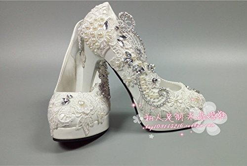 High Wedding White Sandals Diamond Super Round Bride Platform Women Mouth Waterproof Shallow VIVIOO Pearl Prom Diamond 7 Wedding Lace Shoes Pumps EqIpp0