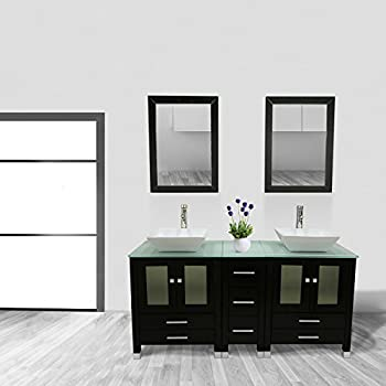 """Walcut 60"""" Double Ceramic Sink Solid Wood Bathroom Tempered Glass  Countertop Vanity Cabinet Modern Contemporary Design w/Mirror"""