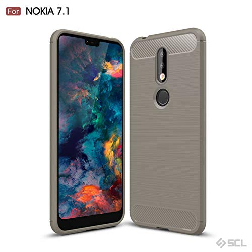 SCL Case Compatible with Nokia 7.1, SCL Phone Case Exquisite Series-Carbon Fiber Design Protective Cover with Anti-Scratch and Shock-Absorption Technology Compatible with Nokia 7.1-Gray