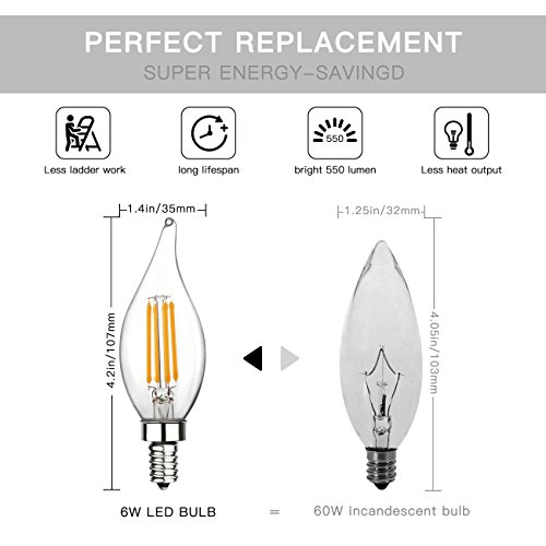 E12 LED Candelabra Bulb 60W Equivalent Dimmable LED Chandelier Light Bulbs 6W 2700K Warm White 550LM CA11 Flame Tip Vintage LED Filament Candle Bulb with Decorative Candelabra Base, 6 Packs, by Boncoo by Boncoo (Image #2)