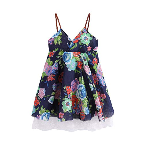 LittleSpring Toddler Girls Sleeveless Flower Dress Summer 4T Navy Blue ()