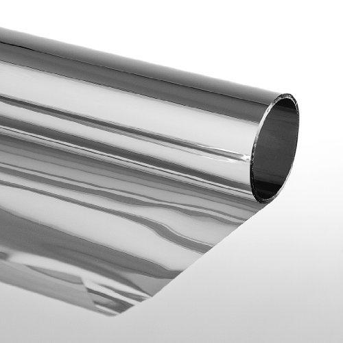 LED-Gigant 3009010101 - Adhesivo para ventanas (protector solar, efecto espejo, resistente a los rasguñ os, tintado, 75 x 900 cm), color plateado resistente a los rasguños