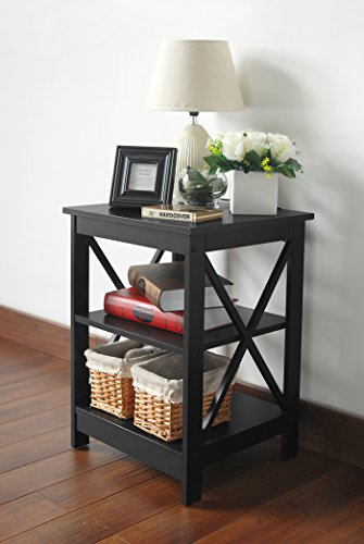 Black Finish Wooden X-Design Chair Side End Table with 3-tier Shelf (Black Side Tables For Living Room)