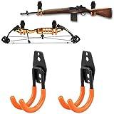 NIANPU Gun Rack Shotgun Hooks Rifle Hangers Archery Bow Felt Lined Wall Mount Storage,Tool Hangers (2 Pack)