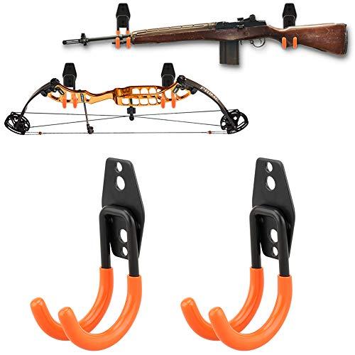 NIANPU Gun Rack Shotgun Hooks Rifle Hangers Archery Bow Felt Lined Wall Mount Storage,Tool Hangers (2 Pack) ()