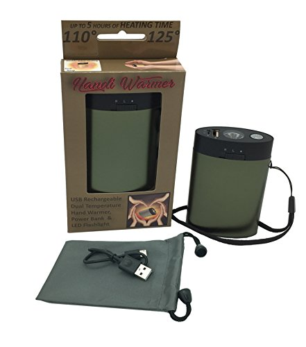 Handi Warmer, Rechargeable Hand Warmer and Device Charger, LED Flashlight, Power Bank, Lithium Ion, Includes USB Charger, Wrist Strap, Carrying Pouch and 4 Language Manual (Green) -