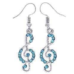 Rhinestones Music Note Style Drop Earrings