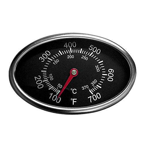 Hongso TG549 Replacement Lid Thermometer Gas Grill Stainless Steel Heat Indicator for Dyna-Glo, Aussie, BBQ Grillware, Brinkmann, Uniflame and Other Gas Grill Models (1-Pack)