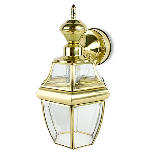 Motion Activated Outdoor Hanging Carriage Wall Light - Polished Brass (14.5 in.) (Carriage Polished)