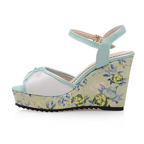 Buckle Blue AmoonyFashion Solid Material Womens Sandals Soft Toe High Open Heels 00vHBnq