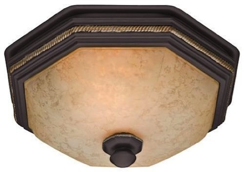 Oil Rubbed Bronze Ventilation Fan - Hunter 82023 Ventilation Belle Meade Bathroom Exhaust Fan and Light with Hand-Painted Snowflake Glass (Bathroom Vent Fan, Exhaust Fan)