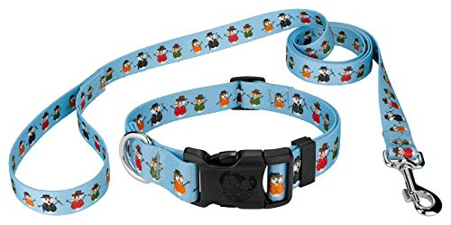 (Country Brook Petz | Caroling Snowmen Deluxe Dog Collar and Leash Set- Christmas Collection with 11 Designs (5/8 Inch, Small))