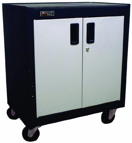 (Homak 2 Door Mobile Cabinet with Gliding Shelf, Steel, GS04002270)
