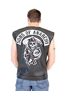 SOA Sons of Anarchy Black Leather Highway Biker Vest (Adult Small)