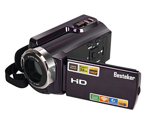 Video Camcorders, Besteker Portable Digital Video Camera Max 20.0 MP 1080P Camcorder HD Support WIFI and IR 3.0 Inches Touch Screen Camera Recorder (HDV-5053)