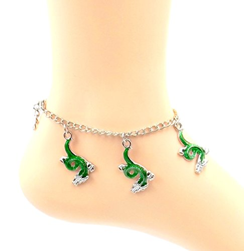 Green Dragon/ Serpent Anklet - Silver-tone/Pewter Ankle Bracelet- Sizes 8-11