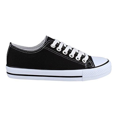Textil Schuhe Bequeme Sportschuhe Top 36 Turnschuh und Schwarz Elara Basic für Sneaker Unisex 46 Damen Low Herren PqtAT
