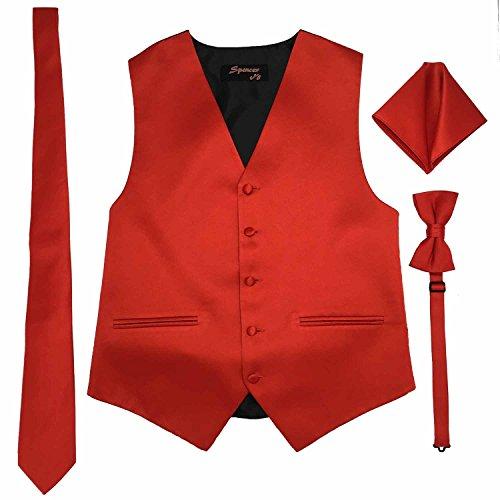 Spencer J's Men's Formal Tuxedo Suit Vest Tie Bowtie and Pocket Square 4 Piece Set Variety of Colors (L (Coat Size 42-45), -