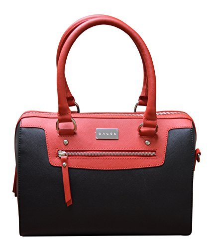 CROSS Women's Artificial Leather Evening Satchel Bag with Zip Compartment and Double Handle - Red/black from Cross