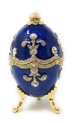 Kubla Crafts Enameled Blue Egg Trinket Box, Accented with Austrian Crystals, Fleur De Lis, 3.5 Inches Tall