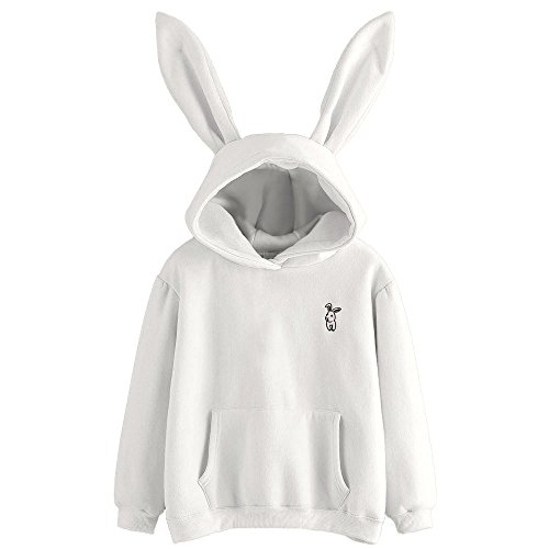 Sunhusing Ladies Cute Rabbit Ear Long Sleeve Hoodie Solid Color Embroidery Pullover Sweater White