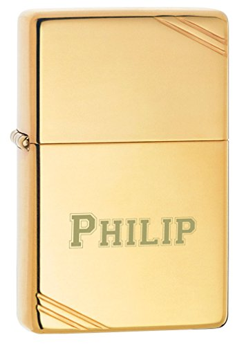 Personalized Zippo Vintage High Polish Brass lighter with free laser engraving ()