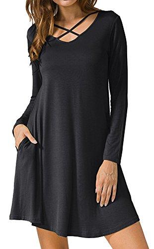 Spadehill Womens Spring Criss Cross Loose Sexy Long Sleeve Casual V Neck Plain Dress Pocket Black (Short Dress Spandex Little Black Dress)